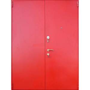 Двустворчатая равнопольная оцинкованная дверь