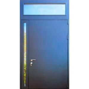 Металлическая дверь со стеклом нестандартная с фрамугой